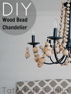 Make a wood bead chandelier. #DIY