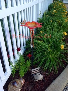 Glass bird feeder/ bird bath - glass garden art - #The Glassy Garden Gal