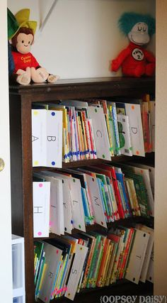 Organizing books for kids ideas.