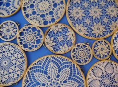 vintage doilies in embroidery hoops