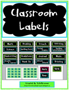 Classroom Freebies: Classroom Signs and Labels