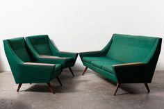 Upholstered Sofa Set   Mid Century Modern