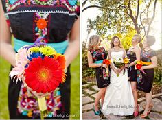 How cute! The bridesmaids wore traditional Mexican dresses.   Photography by Bend the Light  Southwest-school-of-art-and-craft-weddings