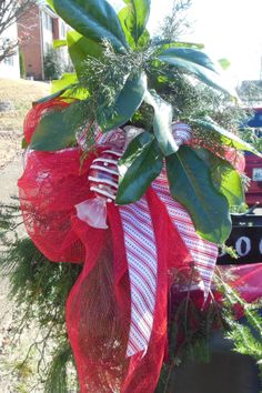 Visions of Sugarplums with Red Deco Mesh and Red & White Glittery Ribbon sweetly wrap up Greenery and Magnolia - Christmas Mailbox