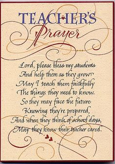 Holly V. Monroe - Teacher's Prayer-Plaque.  Teacher's today are not what they used to be.  They don't seem to really care about teaching or their student's anymore.