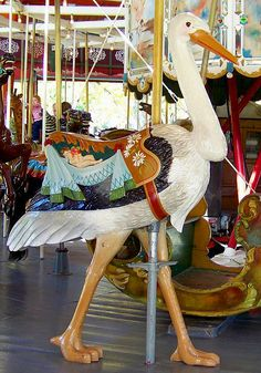 Stork on Herschell-Spillman Carousel - The carousel in Greenfield Village was made by the Herschell-Spillman Company in 1913. The original location of this carousel is unknown; it ran in Spokane, Washington, from 1923 until the 1950s / Photo by Maia C.