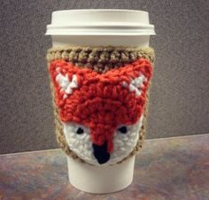 Cute Fox Coffee Cozy - This is an easy pattern to whip up using a small amount of each color yarn.