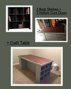 Craft room table using bookshelves, hollow core door and trim  Would also make a great homeschool area with spaces for books and materials.