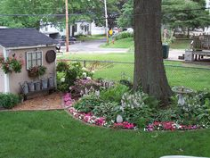 ring around the tree with flowers and shed design