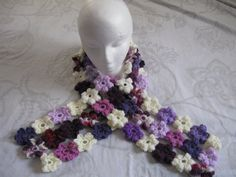 Puff Flower Scarf - Meladora's Free Crochet Patterns & Tutorials crochet flowers, crochet tutorials, puff flower, crochet patterns, peacock colors, flower crochet, flower scarf, scarf patterns, crochet scarfs