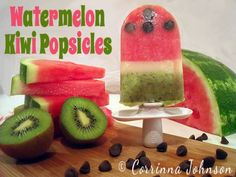 Watermelon Kiwi Popsicles #popsicles #icepops #zoku