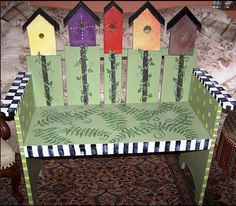Garden bench hand painted in Mackenzie Childs by WallaceWhimsies, $125.00