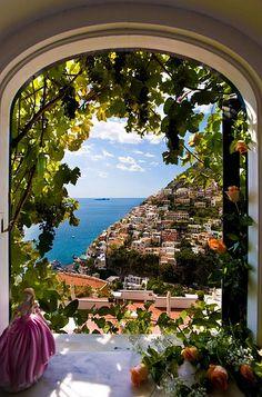 Italy ~ View from the window, Amalfi Coast villas, Positano, Italy.
