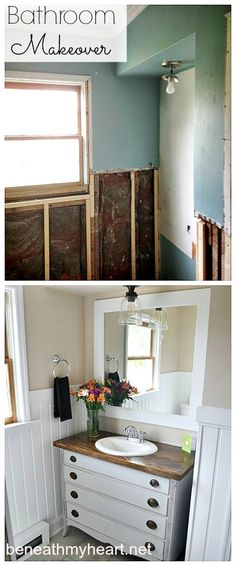 Bathroom Makeover Reveal. Love the dresser turned vanity.