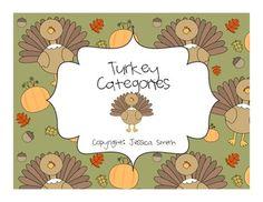Turkey Categories-Speech Therapy Activity