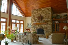Limestone fireplace in a Great Room