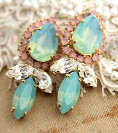 Rhinestone chandelier post earrings Mint blush opal Pink  - 18k gold plated earrings real swarovski rhinestones.