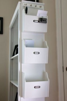 Home office organization: Categorize loose papers/documents/receipts into: Now (requires action immediately), Later (requires action soon) and File (already paid or taken care of but needs to be filed in the desk drawers).