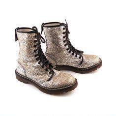 Glitter Doc Martens Boots Vintage 1990 Silver Glitter Doc Martens Boots UK Size 5. $548.00, via Etsy.