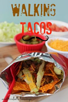 Great & Easy recipe for a busy week night! Take a different twist with this Taco recipe by turning it into Walking Tacos! recipe for walking tacos #recipes #tacos