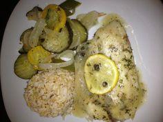Lemon Tilapia, Brown Rice & Zucchini/Yellow Squash