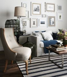 love the white picture frames w/ gray mats vintage chairs, coffee tables, vintage chic, living rooms, rug, gallery walls, hous, photo galleries, decorating tips