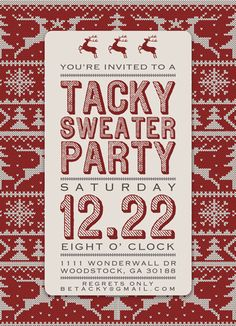 Printable -DIY - Tacky Sweater Party, Ugly Sweater Party, Christmas Sweater Party Invitation - Red Christmas Sweater. $22.00, via Etsy.