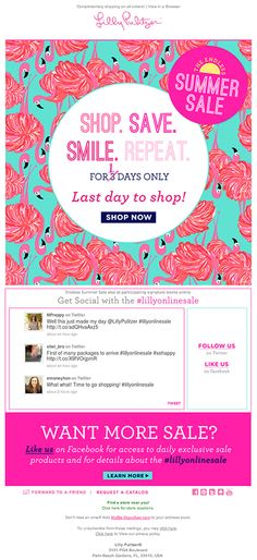 Lilly Pulitzer added real-time tweets into this email to show the conversations shoppers were having around The Endless Summer Sale, using the #lillyonlinesale hashtag. #emailmarketing #socialmedia