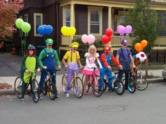 Walking down the street on Halloween, I happen upon the greatest group costume ever. - Imgur  Okay who will do this with me next year!?! We could dress up our kids as banana peels, super stars, and turtle shells and put them in seats behind us!!!!