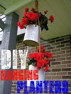 DIY hanging planters from coffee cans