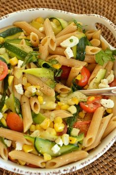 Whole wheat pasta with summer veggies and feta! Super tasty way to use garden produce!