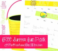 Free Summer Fun for Kids Pack: Summer Bucket List Printable + 2 FREE Summer Activity Calendars for June and July