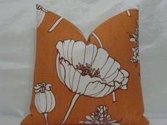 Thom Filicia for Kravet - Poppyfield  in Tangelo - 20 x 20 Decorative Designer Pillow Cover. $40.00, via Etsy.