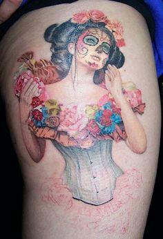 David Corden day of the dead skull corset lady tattoo