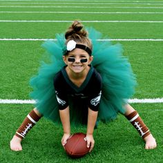 Football costume. This will happen when we have girls