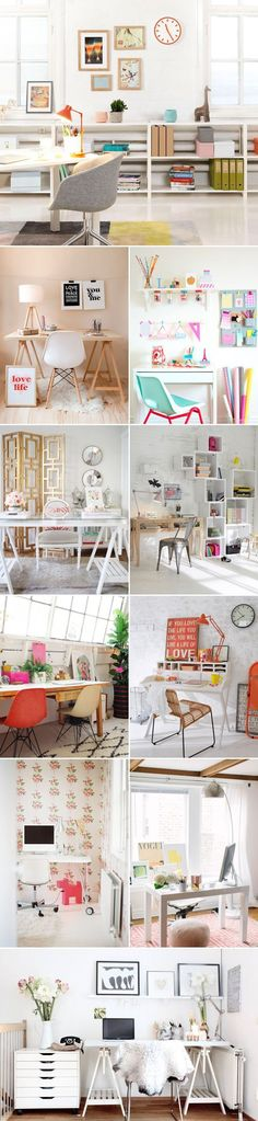 20 Simple and Stylish Home Office Designs- great colours crochet baskets, interior, home office spaces, office designs, bathroom storage, offic space, homes, home offices, workspac