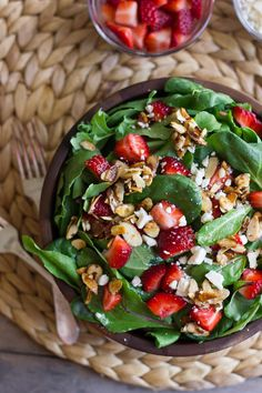 strawberry and spinach salad #food #yummy #delicious