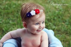 Red White and Blue Patriotic Rosette Flower Headband  by bubbipop, $7.99