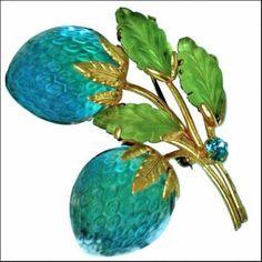 Austria Glass Blueberries Pin Brooch