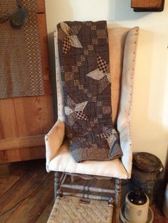 Make-do chair and farmhouse star throw at the Duncan's home, Winchester, IL.