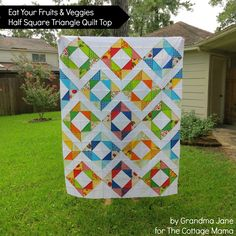 The Cottage Home: Eat Your Fruits and Veggies Half-Square Triangle Quilt Top