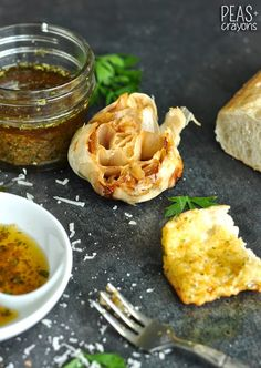 Restaurant-Style Herbed Olive Oil Bread Dip with Roasted Garlic @peasandcrayons