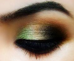 green, gold, black, bronze, makeup, look, eyes