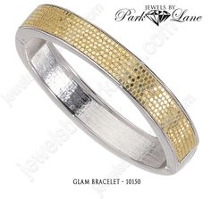 The Glam bracelet from Jewels by Park Lane has Sparks flying from the brilliant crushed gold glitter of the matching wide hoop earrings and the sensational hinged bangle bracelet.