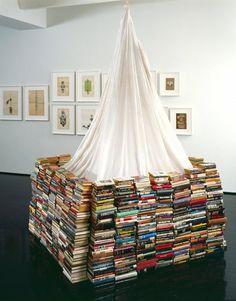 books, book fort, book installation, dream, bookish, book tent, art, read, librari
