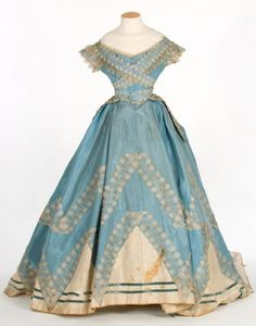 Blue and cream evening dress, circa 1860s