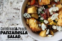 Cornbread & Peach Panzanella Salad Recipe | Mix and Match Mama