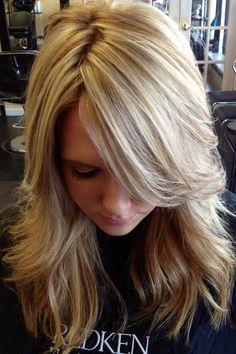 pretty blonde highlights. Cute cut
