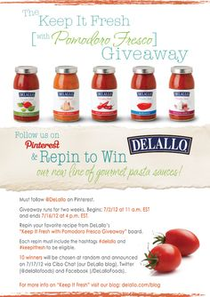 For two weeks, we're giving you a chance to keep it fresh with our newest line of DeLallo gourmet pasta sauces—Pomodoro Fresco! See our blog for details! #giveaway #keepitfresh