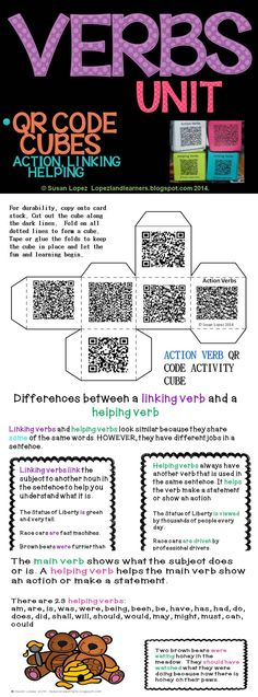 This 17 page set features posters explaining action, linking and helping verbs, examples, 2 songs, and 3 QR Code Cubes with 6 writing prompts each. Standards covered are from 2nd through 6th grade. Posters include Verbs, Action Verbs, Linking Verbs, Helping Verbs, & Differences Between Linking & Helping Verbs. Included is a combination of narrative, opinion, and poetry.